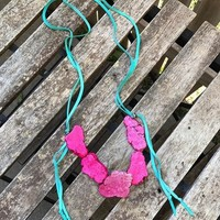 Turquoise/pink slab necklace from PeaceLove&Jewels