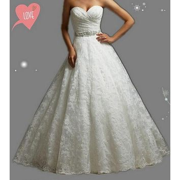 9057 2016 Beads Crystal  White Wedding Dresses lace for brides plus size 2 4 6 8 10 12 14 16 18 20 22 24 26 28
