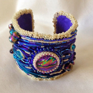 Shibori Ribbon Bracelet/Cuff, Aqua and Purple, , Boho, Vintage Look,Victorian, Pearlized Seed Beads
