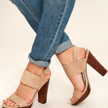Report Lawrena Natural Suede Platform Heels
