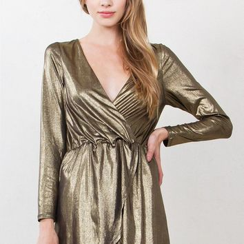 Golden Girl Wrap Mini Dress - FINAL SALE!