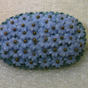 Vintage Miriam Haskell Forget-Me-Not Brooch, 1930s, 1940's, Celluloid/Plastic