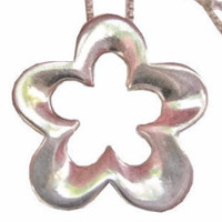 Sterling Flower Pendant Necklace