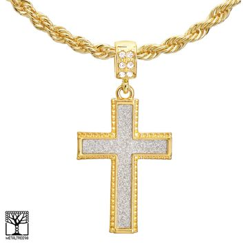 """Jewelry Kay style Men's Gold Plated CZ Cross Pendant 22"""" Chain Necklace Set HC 2044 G"""