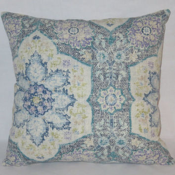 "Blue Medallion Pillow Cover, Navy Teal Lavender, P. Kaufmann Toscana Tile, Morrocan, Ethnic, Boho,  17"" Square Cotton, Ready to Ship"