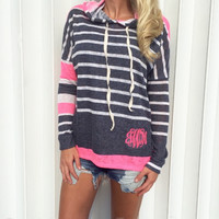Striped Color Block Long Sleeve Hooded Sweater