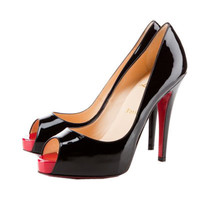 Christian Louboutin Very Prive Peep Toe Pumps Black Red
