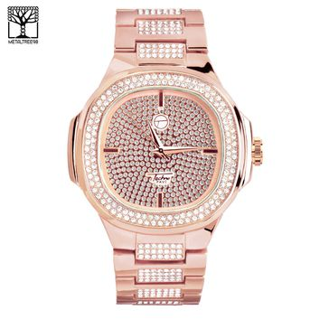 Jewelry Kay style Men's CZ Iced Out Fashion Rose Gold Toned Metal Band Hip Hop Watch WM 8403 RG