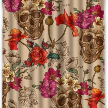 Skull and Flower Custom Bathroom Decorative Polyester Shower Curtain