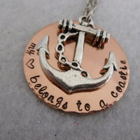 Personalized Copper and Silver Necklace - My Heart Belongs to a Sailor - Coastie