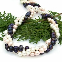 Twisted Multistrand Pearl Necklace Handmade Torsade Swarovski Jewelry