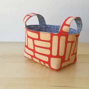 Small Fabric Storage Bin Basket - First Aid