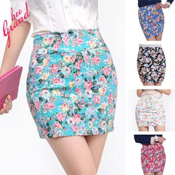2015 Saias Femininas Summer Hot Selling Women Short Skirt Fashion Casual Lovely Floral Printed Elastic Pencil Mini Skirts = 1946681988