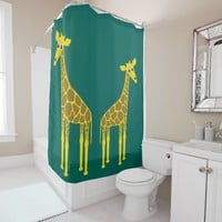 Two giraffes shower curtain