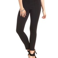 Faux Leather-Waist Skinny Pants by Charlotte Russe
