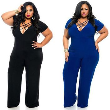 2016 Women Summer Sexy Cross Straps V-neck Elastic Solid Jumpsuit Plus Size Bodysuit