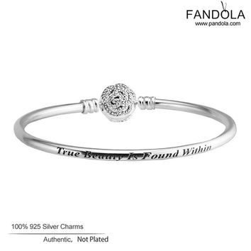 Beauty & The Beast Bangles 925 Sterling Silver Rose Clasp Charm Beads Bracelet Bangles for Women Sterling Silver Jewelry Making