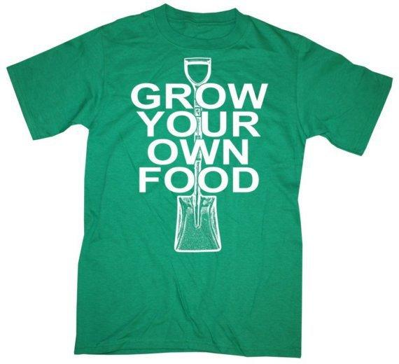 Mens GROW Your OWN FOOD Tshirt Kelly Green s m l xl by happyfamily