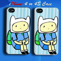 Finn Adventure Time Custom iPhone 4 or 4S Case Cover from namina
