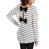 Sale-ivory/black Stripe Bow Back Top
