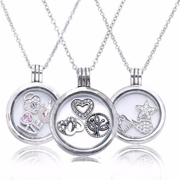 Glass Floating Locket Medium Pendant Necklace