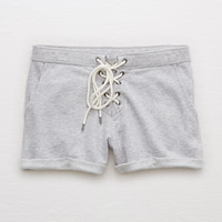Aerie Lace-Up Sweatshort, Medium Heather