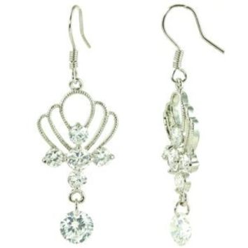White CZ Drop Crown Shaped Dangle Earrings