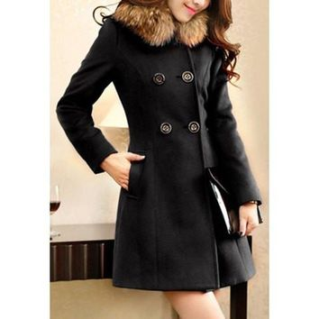 Fur Collar Four Buttons Long Sleeves Worsted Coat