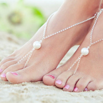 New Arrival Cute Ladies Shiny Gift Jewelry Sexy Stylish Summer Beach Simple Design Pearls Anklet [8527530503]