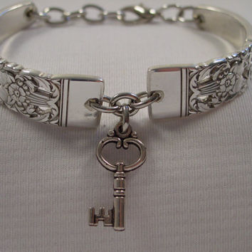 A Coronation Pattern Spoon Bracelet With Key Charm Handmade Spoon and Fork Jewelry b13