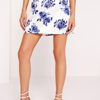Missguided - Structured Satin Floral Print Mini Skirt White