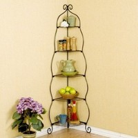 Colchester Scrolled Corner Etagere Finish: Black