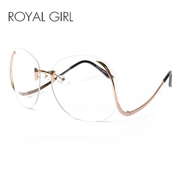ROYAL GIRL 2017 NEW Unique Eyeglasses Women Rimless frames glasses Oversized ss380