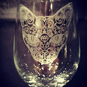 Sugar Skull, Day of the Dead Cat Etched Wine Glass