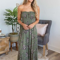 Nature Walk Smocked Maxi - Olive