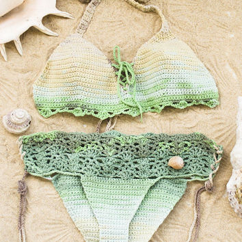 Boho Crochet Bikini Swimsuit Set, 2 Piece Swimwear Set, Green Bathing Suit, 70s Fashion Beach Wear, Psychedelic Festival Clothing,