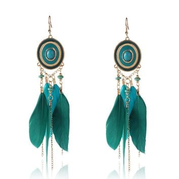 Handmade Retro Feather Pendant Long Dangle Earrings Women Indian Jewelry Bohemian Ethnic Resin Stone Hanging Earrings Pendientes