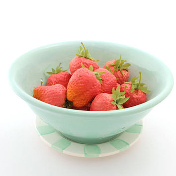 Berry Bowl ,  ceramic colander, colander and plate, seafoam green, home and living, summer, picnics, strawberries cherries