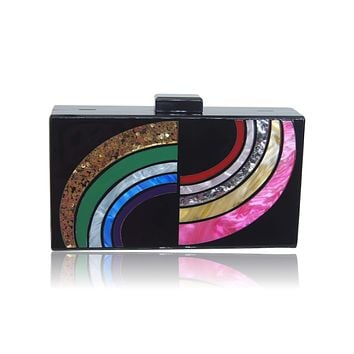 Milanblocks Black Rainbow Lucite Box Evening Clutch