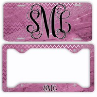 Pink Marble Chevron Look License Plate Car Tag Monogram Frame Personalized Set Custom Initials Car Coasters Faux Glitter Sparkle