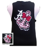 Alabama Crimson Tide Anchor Bow Bright Girlie Girl Black Tank Top