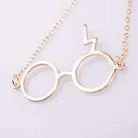 Lightning Glasses Necklance- Harry Potter Inspired Necklace, Harry Potter Inspired jeweley lightning scar glasses pendant necklace Z word