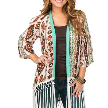 Crazy Train Women's Coyote Cowboy Poetry Aztec Print with Fringe Kimono