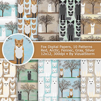 Fox Digital Paper, Printable Animal Paper, Woodland Animals Scrapbook Foxes Digital Paper, Animal Backgrounds, Fennec Red Arctic Gray Silver