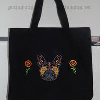Black Embroidered Sugar Skull Day Of The Dead French Bulldog Tote