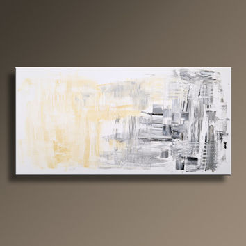 "48"" Large Original ABSTRACT Painting on Canvas Contemporary Modern Art  WHITE Yellow GRAY Black Textured wall decor - Unstretched"