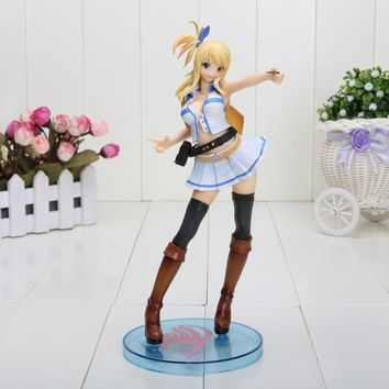 21CM Fairy Tail Lucy Heartphilia with white dress PVC Action Figure Collection Model Toy