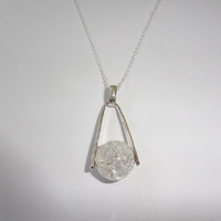 Sterling Silver Agate Crystal Ball Pendant Necklace