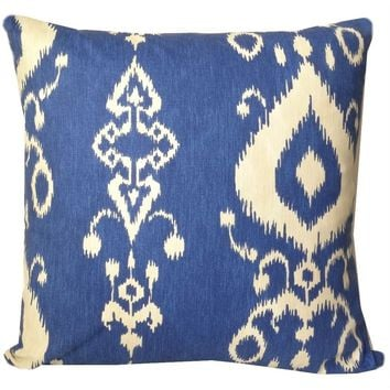 Nora Cobalt Blue Ikat Pillow