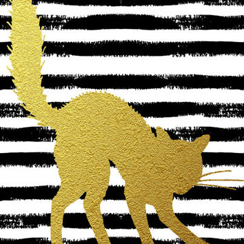 8x10 Halloween Printable Wall Art faux gold foil spooky cat art black and white art halloween poster art stripe art print INSTANT DOWNLOAD